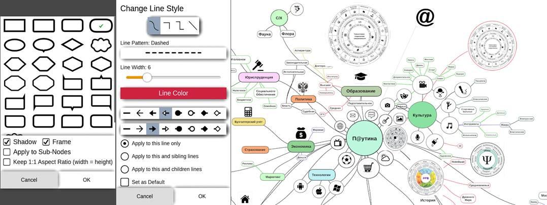 opciones de la aplicación y ejemplo de mapa hecho con mimind