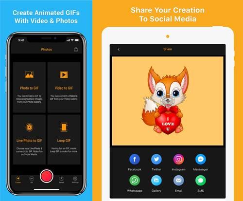 opciones principales de la app gif maker - video a gif creator
