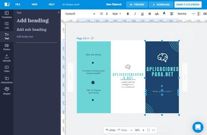 herramientas de edición en flipsnack