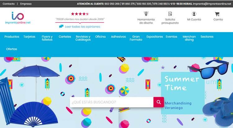 inicio de la aplicación web imprenta online