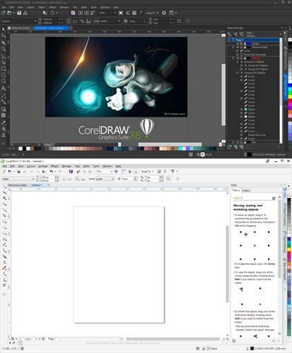 interfaz de dos versiones de coreldraw