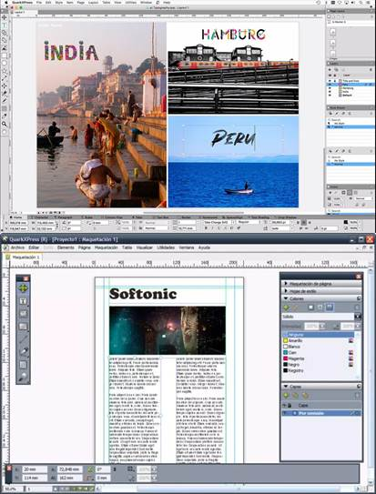 interfaz del programa quarkxpress