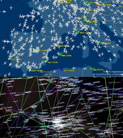 lineas de tráfico aéreo mundial para localizar aviones