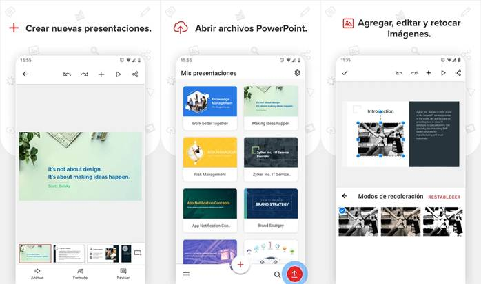 características de la app zoho show