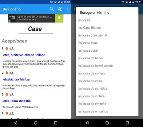 interfaz de diccionario euskera - español