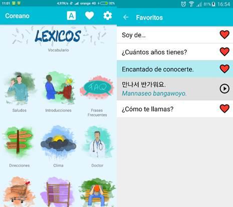 interfaz de la app aprende coreano