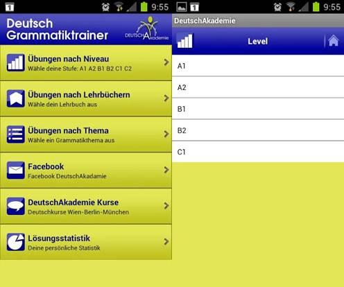 interfaz de la app deutschakademie