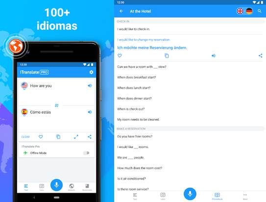 interfaz de la app itranslate