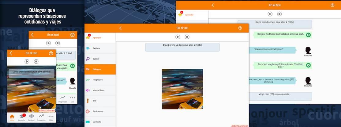 interfaz de práctica de dialogos en la app