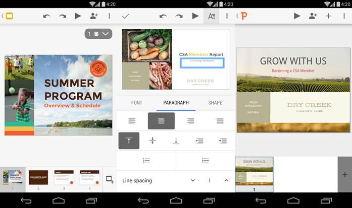 interfaz y funcionamiento de la app presentaciones de google