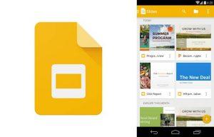 logo e interfaz de la app presentaciones de google