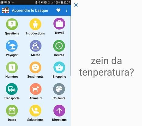 opciones de la app aprende euskera gratis