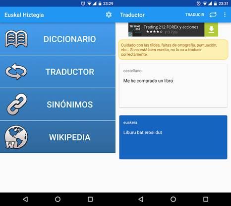 opciones de la app diccionario euskera - español