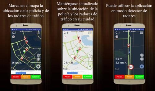 características de la app detector de policia