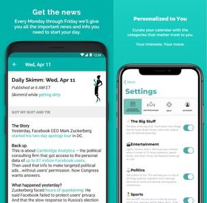 inicio de theSkimm aplicaciones de noticias