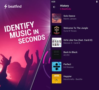 interfaz de la app beatfind music recognition